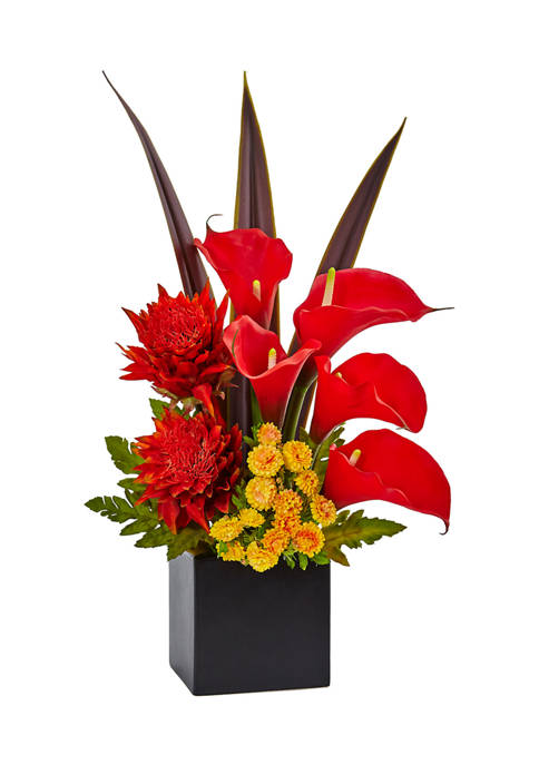 Tropical Floral and Calla Lily Silk Arrangement