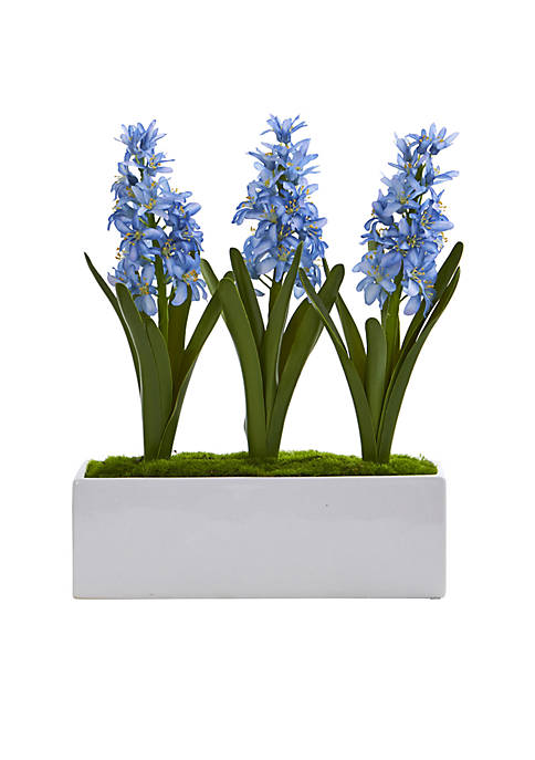 Nearly Natural Hyacinth Artificial Arrangement in White Vase