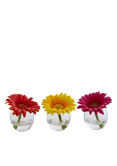 Nearly Natural Gerbera Daisy Artificial Arrangement, Set of