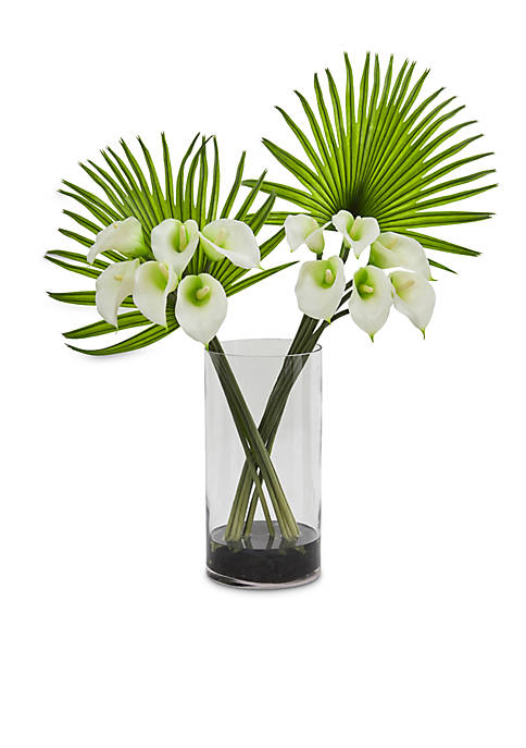 Calla Lily and Fan Palm Artificial Arrangement