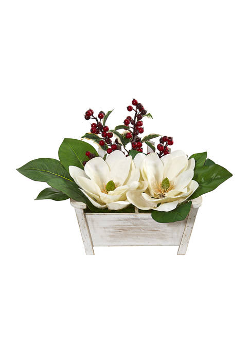 Nearly Natural Magnolias and Berries Arrangement with Chair