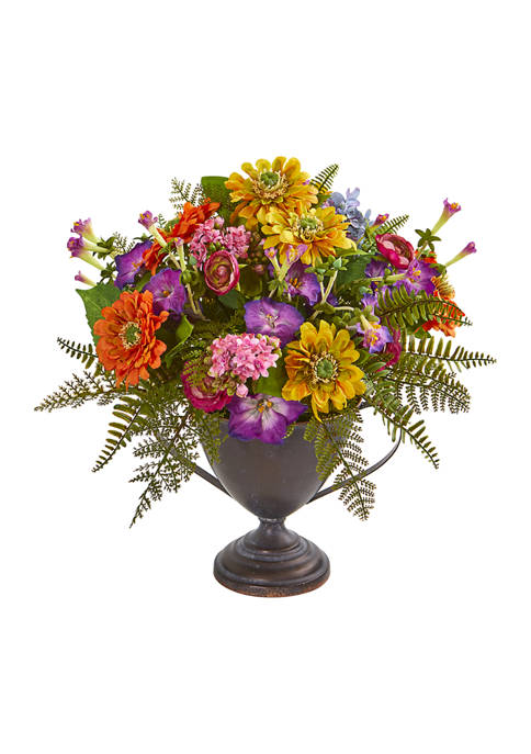Nearly Natural Assorted Floral Arrangement in Goblet