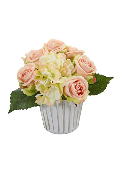 Nearly Natural Rose and Hydrangea Bouquet in Trimmed