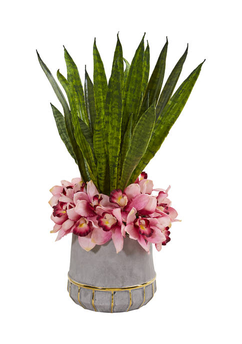 Nearly Natural Cymbidium Orchid and Sansevieria Arrangement in