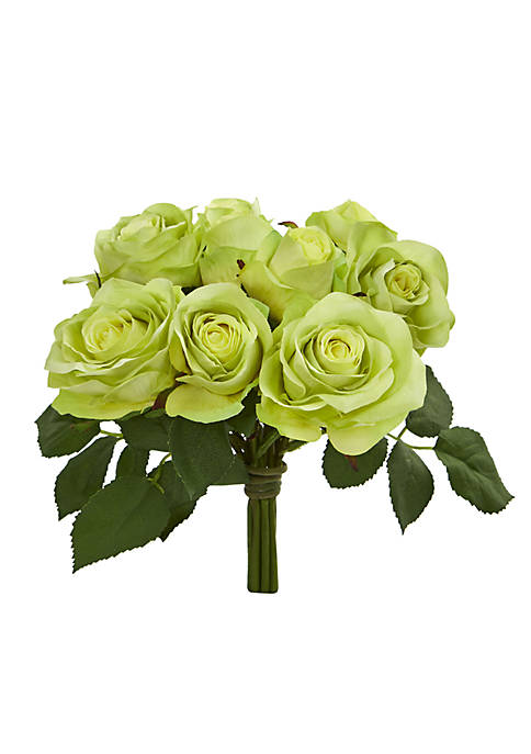 Nearly Natural Rose Bush Artificial Flower Stem Bunch,