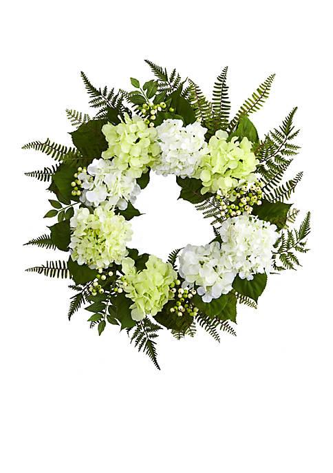Nearly Natural Hydrangea Berry Wreath