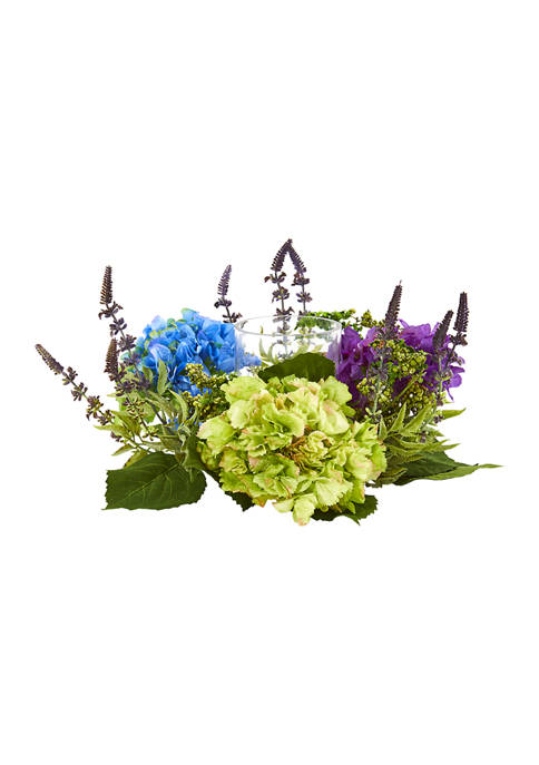 Nearly Natural Hydrangea Arrangement Candelabrum