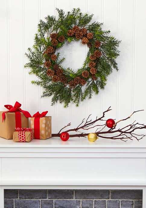 Nearly Natural Cedar Grass and Pine Cone Wreath