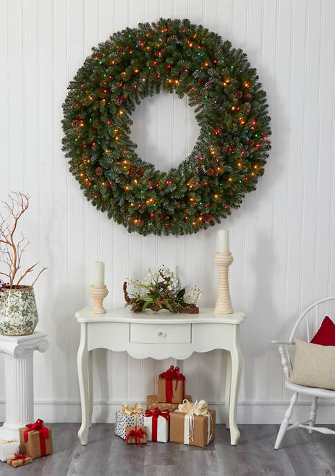 Giant Flocked Christmas Wreath with Lights, Glitter and Pine Cones