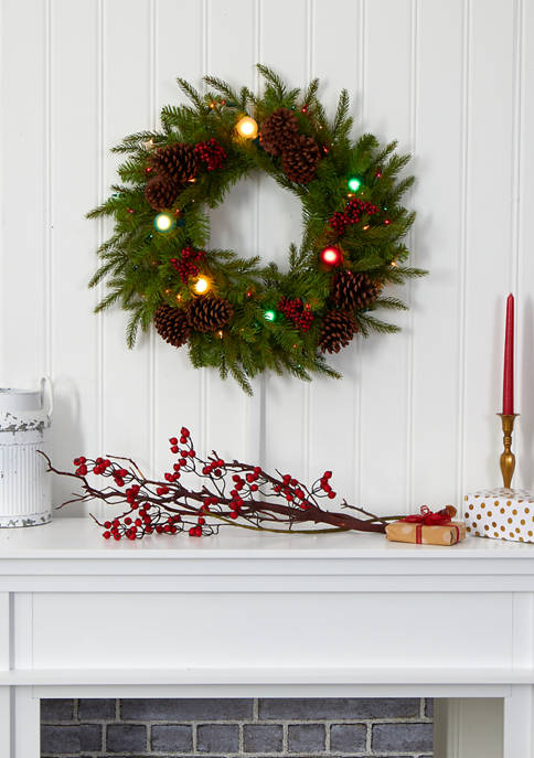Nearly Natural Christmas Wreath with Globe Bulbs, Berries,