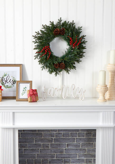 Green Pine Christmas Wreath with Berries
