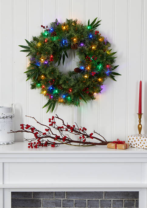 Nearly Natural Christmas Wreath with Berries and Pine