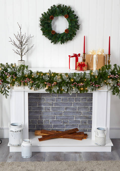 Nearly Natural Snow Tipped Christmas Garland