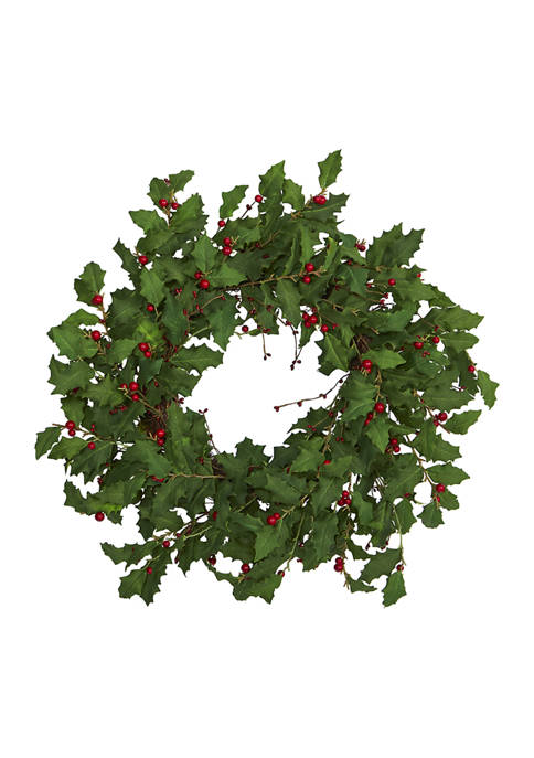 Nearly Natural 28 Inch Holly Berry Artificial Wreath