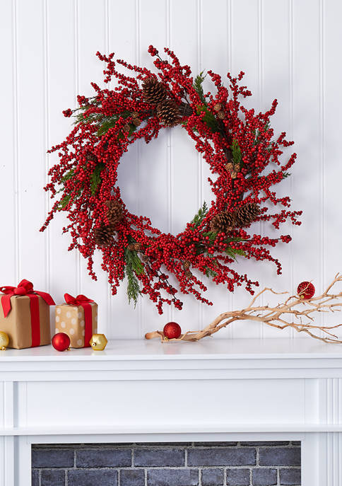 Nearly Natural Cypress Wreath with Berries and Pine