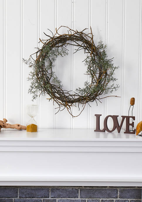 Nearly Natural Frosted Twig Wreath