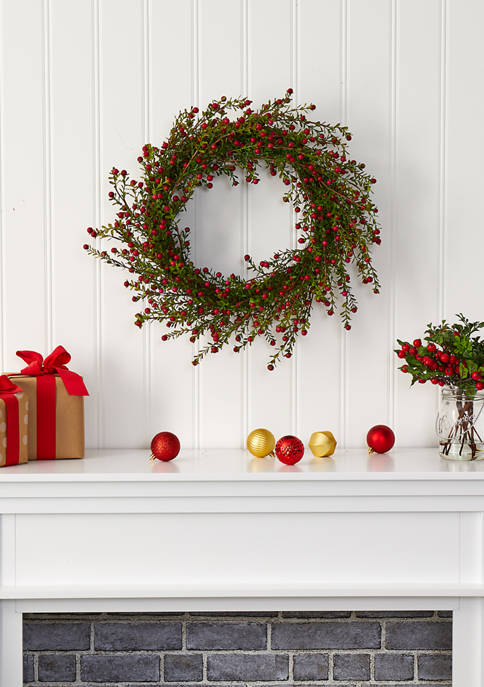 Nearly Natural Boxwood and Berries Wreath