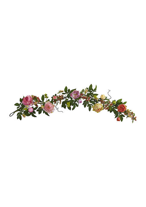 Assorted Peony and Berry Garland