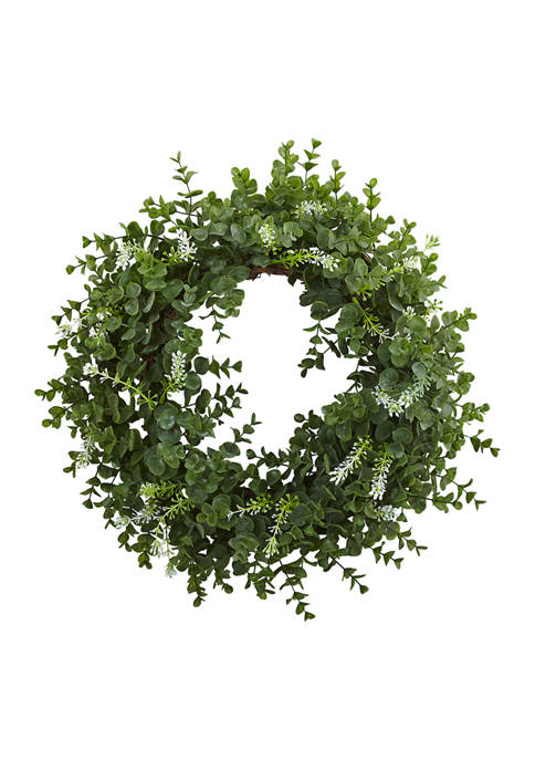 Nearly Natural Eucalyptus Double Ring Wreath with Twig