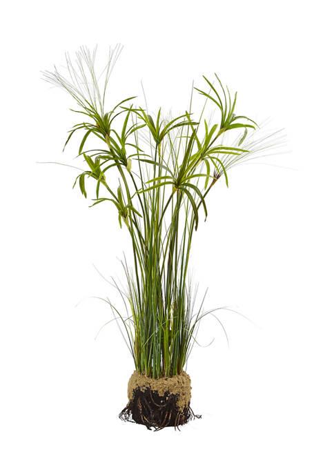 Nearly Natural Papyrus Plant with Faux Soil Arrangement