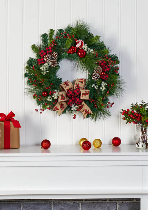 Nearly Natural Christmas Pine Wreath with Pine Cones
