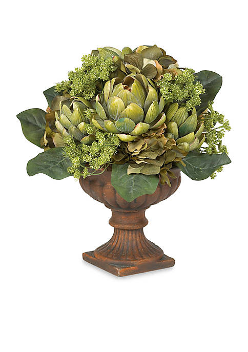 Nearly Natural Artichoke Centerpiece Silk Flower Arrangement