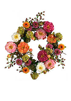 Nearly Natural 24-in. Peony Wreath