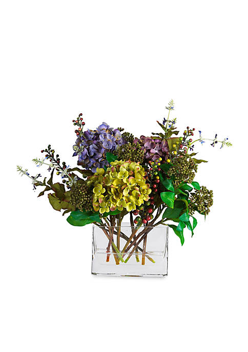 Nearly Natural Mixed Hydrangea Silk Flower Arrangement with