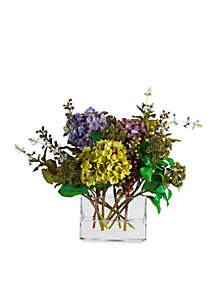 Mixed Hydrangea Silk Flower Arrangement with Rectangle Vase