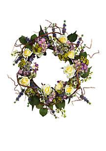 24-in. Hydrangea Rose Wreath