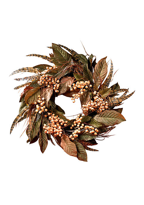 Nearly Natural 24-in. Feather and Berry Wreath