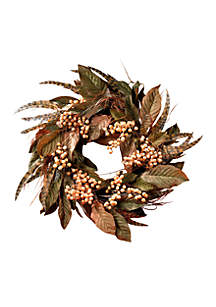 24-in. Feather and Berry Wreath