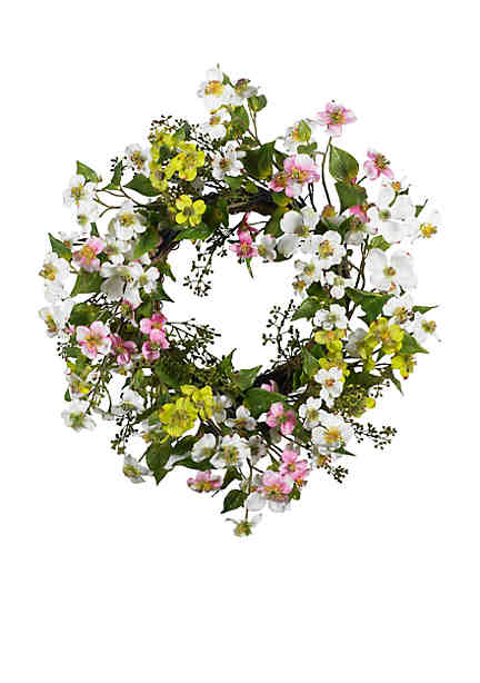 Artificial silk flower arrangements belk dogwood wreath nearly natural undefined mightylinksfo Image collections