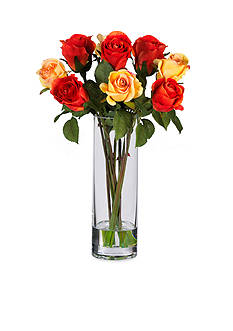 Nearly Natural Rose Silk Flower Arrangement with Glass Vase