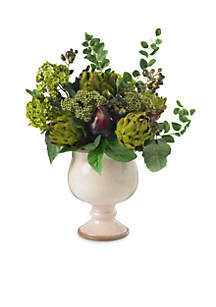 Artichoke and Hydrangea Silk Flower Arrangement