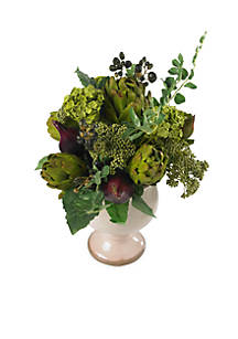 Nearly natural artichoke and hydrangea silk flower arrangement belk nearly natural artichoke and hydrangea silk flower arrangement mightylinksfo