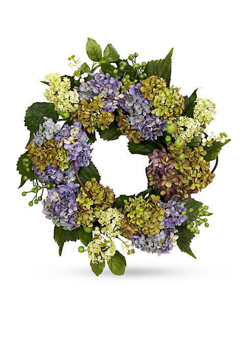 Nearly Natural 22-in. Hydrangea Wreath