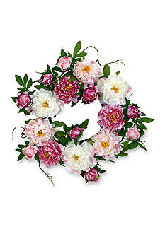 Nearly Natural 22-in. Peony Wreath
