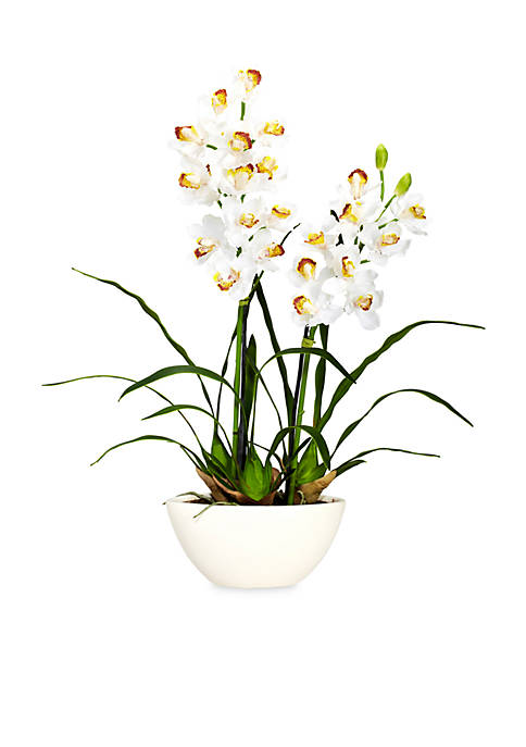 Nearly Natural Cymbidium Silk Flower Arrangement with White