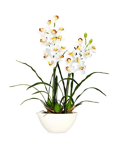 Cymbidium Silk Flower Arrangement with White Vase