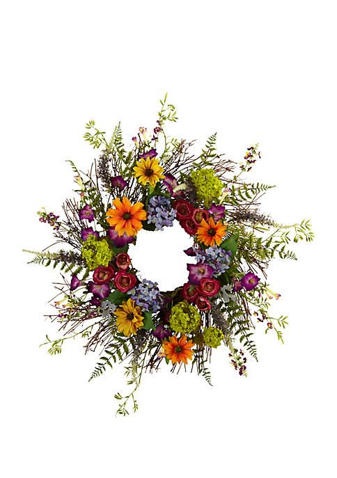 24-in. Spring Garden Wreath W/Twig Base
