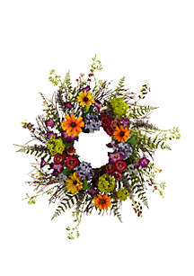 Nearly Natural 24-in. Spring Garden Wreath W/Twig Base