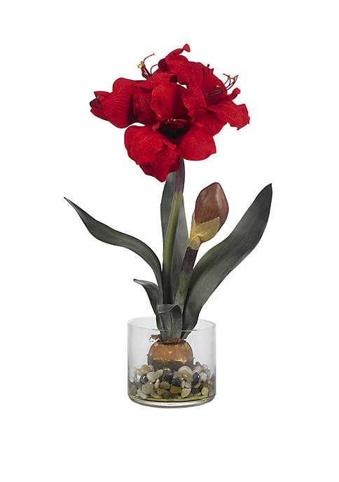 Nearly Natural Amaryllis with Round Vase