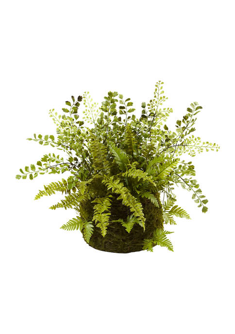 Nearly Natural Assorted Fern with Twig and Moss