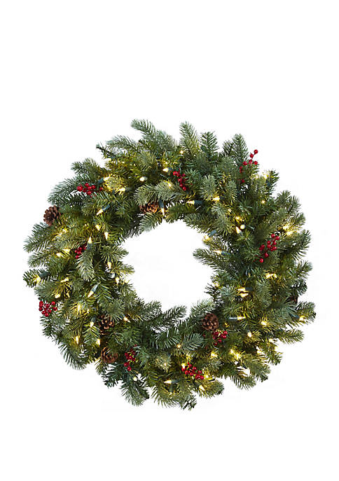 Nearly Natural 30 in Lighted Pine Wreath with