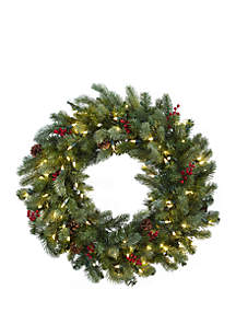 30 in Lighted Pine Wreath with Berries and Pine Cones