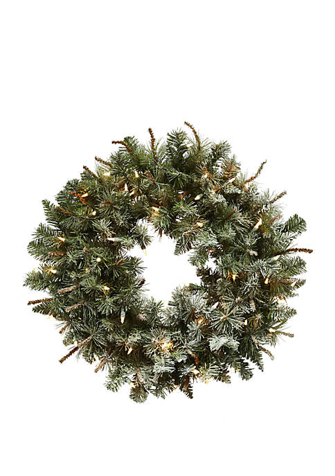 Nearly Natural 30 in Lighted Frosted Pine Wreath