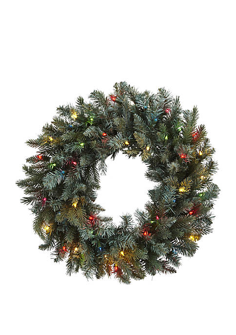30 in Pine Wreath with Colored Lights