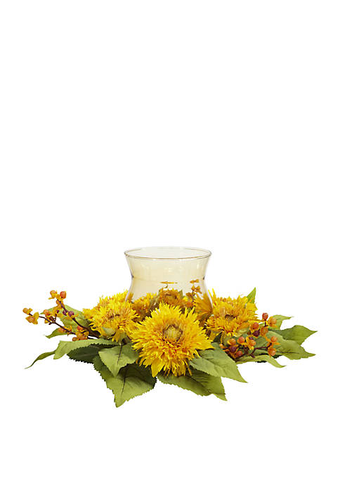 Nearly Natural Golden Sunflower Candelabrum Silk Flower