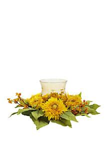 Golden Sunflower Candelabrum Silk Flower Arrangement
